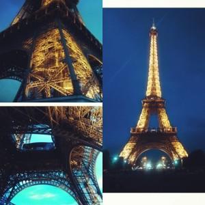 Эйфелевая, Башня, Париж, ночь